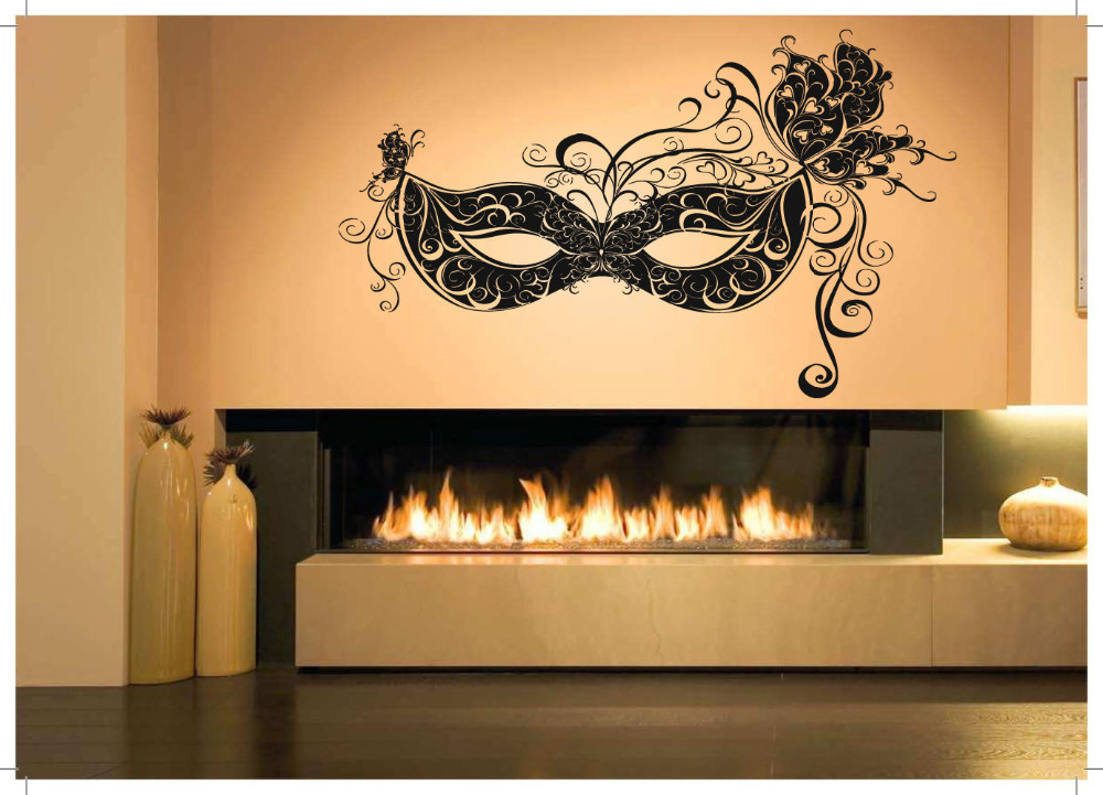 wall room decor art vinyl sticker mural decal venetian carnival mask big in wall stickers from. Black Bedroom Furniture Sets. Home Design Ideas