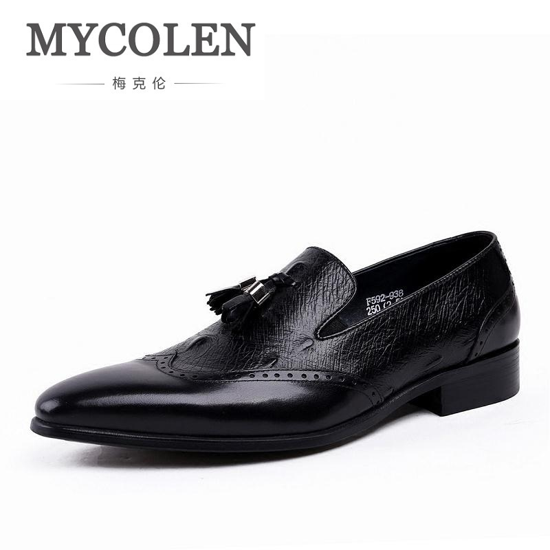 MYCOLEN Summer New Genuine Leather Men Formal Shoes With Tassel Pointed Toe Wedding Party Dress Footwear Breathable Men's Flat zapato oxford azul formal wedding men shoes mens summer dress black pointed shoes chaussure homme new brand men leather flats
