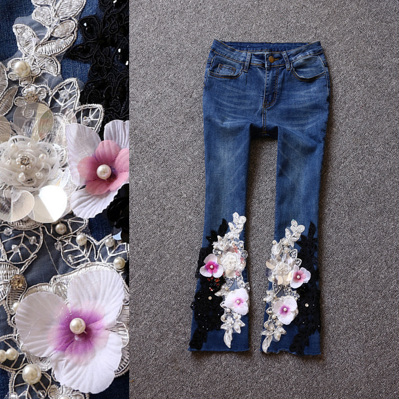 2017 brand fashion high-end Slim was thin stretch retro micro-speakers nine points jeans pants colorful brand large size jeans xl 5xl 2017 spring and summer new hole jeans nine pants high waist was thin slim pants