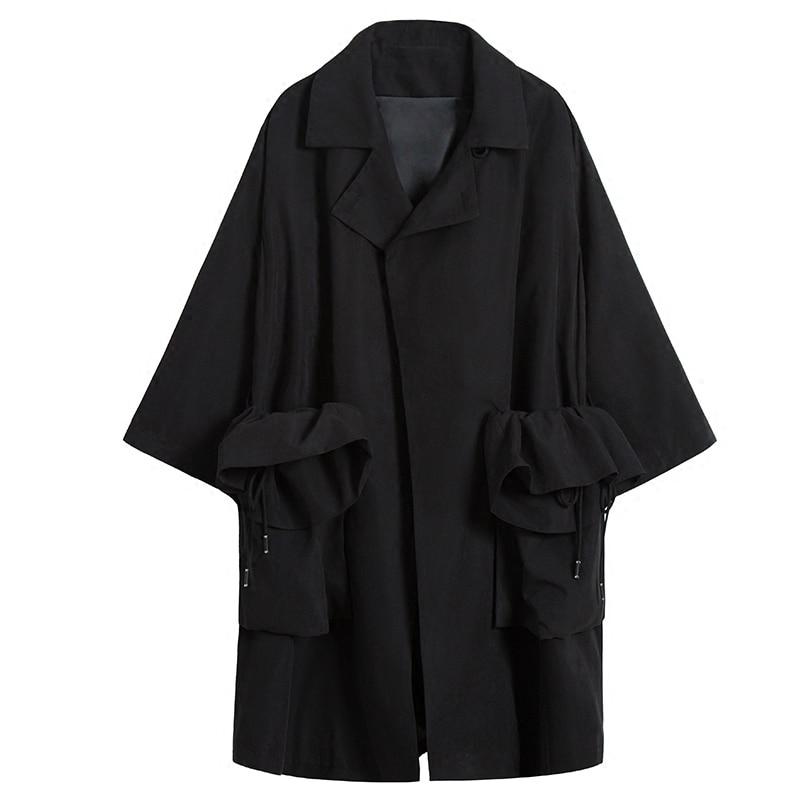 Poches Black Vintage Manteau Lâche eam vent Printemps Longues Patchwork Aa556 Réglable Revers Manches 2019 Nouveau Femmes Coupe À Mode Taille RPw1H7q