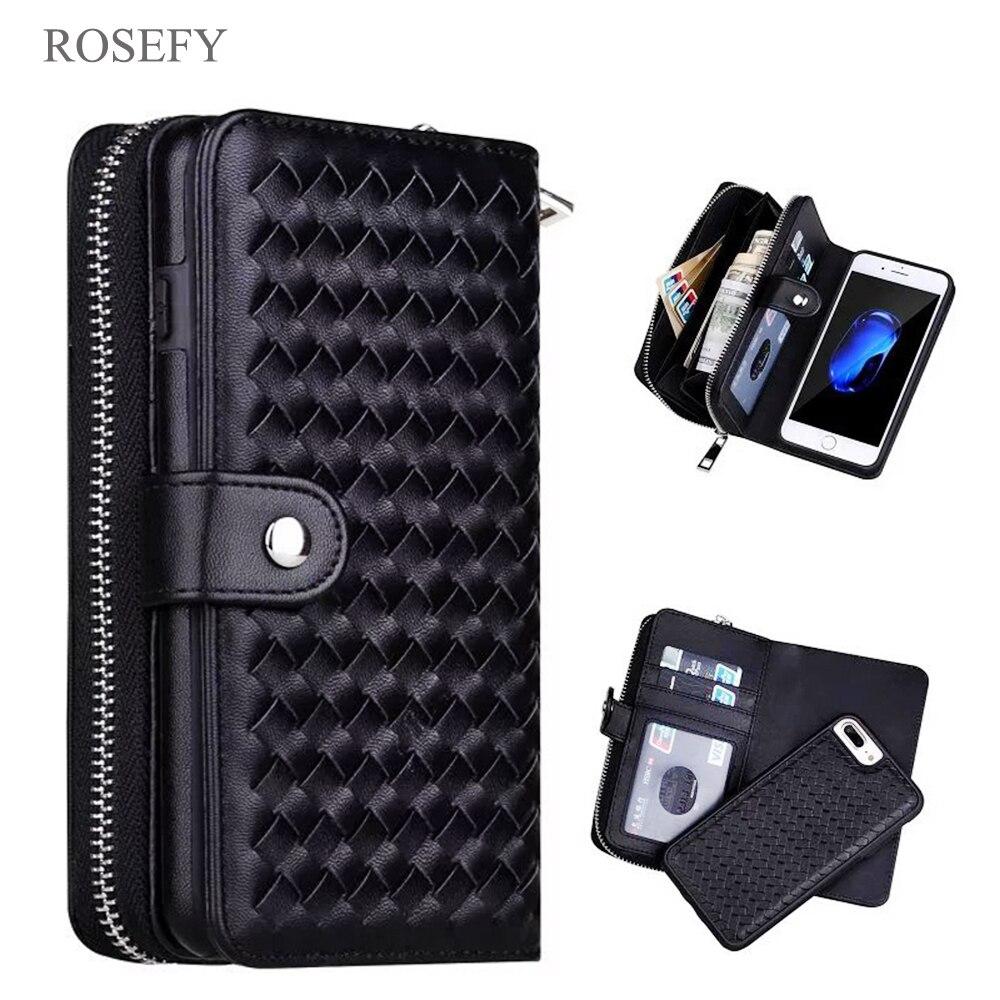Cremallera monedero extraíble bolso tejido cuero caso cubrir para iPhone 7 6 6 S Plus 5S Samsung galaxy S8 S9 s10 más S7 borde Nota 4/5/9