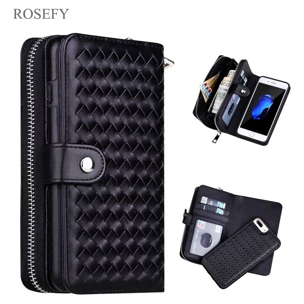 Zipper Removable Wallet Bag Woven Leather Case Cover For iPhone 7 6 6S Plus 5S Samsung galaxy S8 S9 S10 Plus S7 Edge Note 4/5/9Zipper Removable Wallet Bag Woven Leather Case Cover For iPhone 7 6 6S Plus 5S Samsung galaxy S8 S9 S10 Plus S7 Edge Note 4/5/9