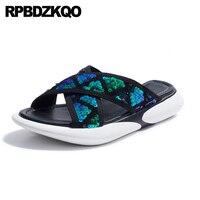 Flat Paillette Casual Glitter Bling Sandals Plus Size Turquoise Slippers Slides Flatform Designer Shoes Women Luxury 2018 Sequin