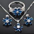 Perfect Blue Cubic Zirconia Mulheres Conjuntos de Jóias de Prata Pingente de Colar Brincos Anéis Frete Grátis JS0147