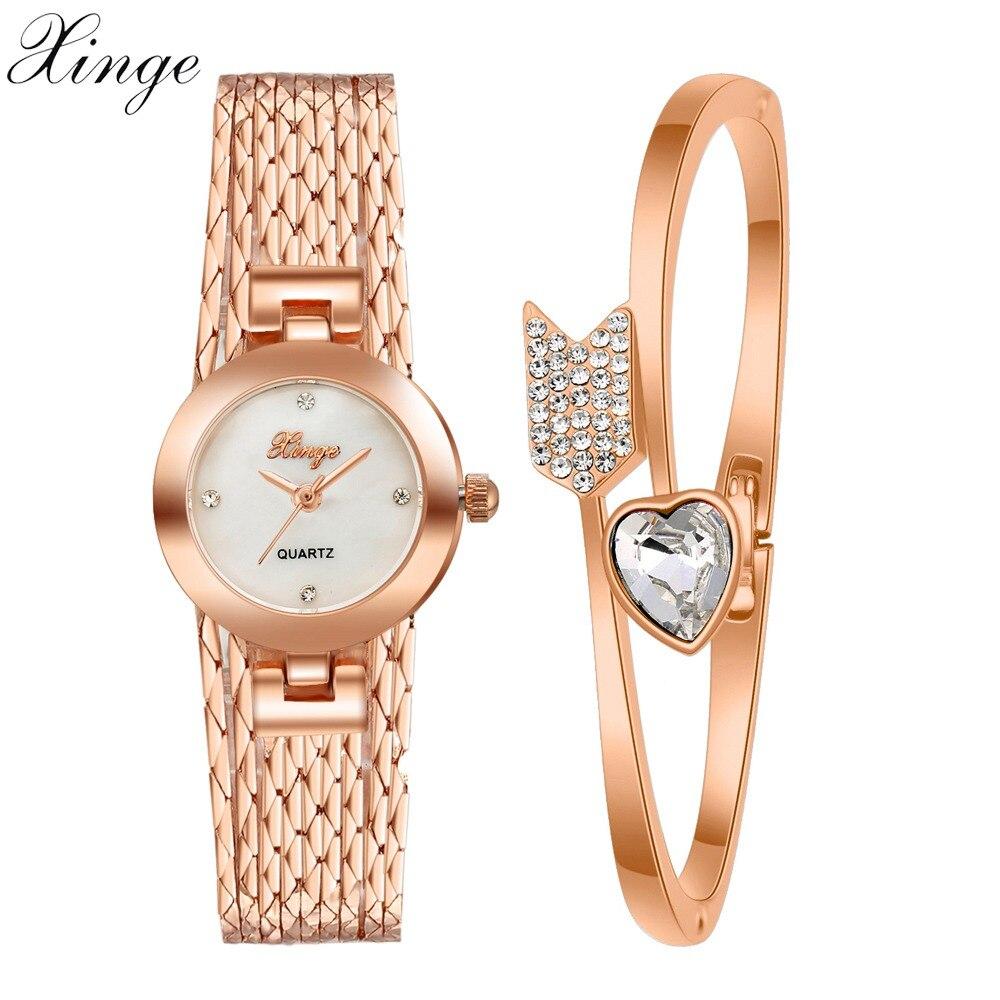 Xinge Famous Brand Watch Women Rose Gold Luxury Gemstone Arrows Heart Bracelet Wristwatch Women Dress Jewelry Watch Set Clock cute love heart hollow out bracelet watch for women