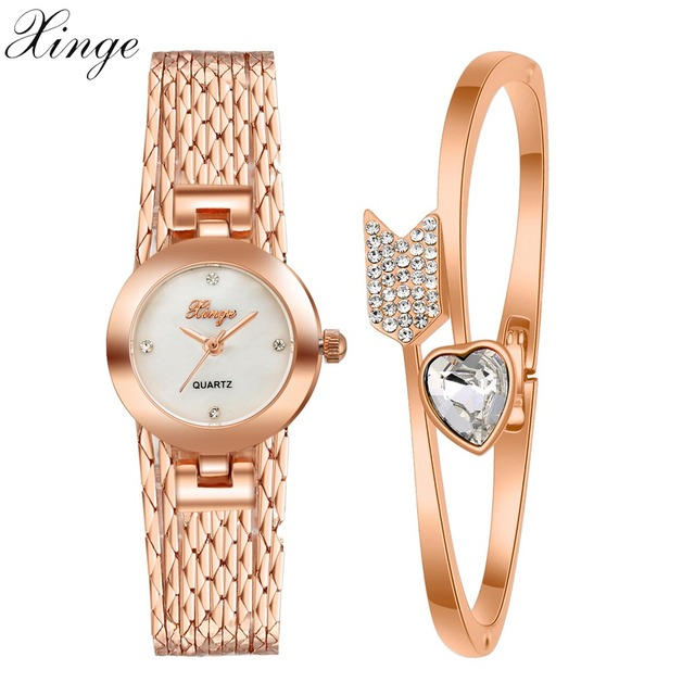 1849017ec40 Xinge Top Brand Watches Women Rose Gold Luxury Gemstone Arrows Heart  Bracelet Wristwatch Women Dress Jewelry