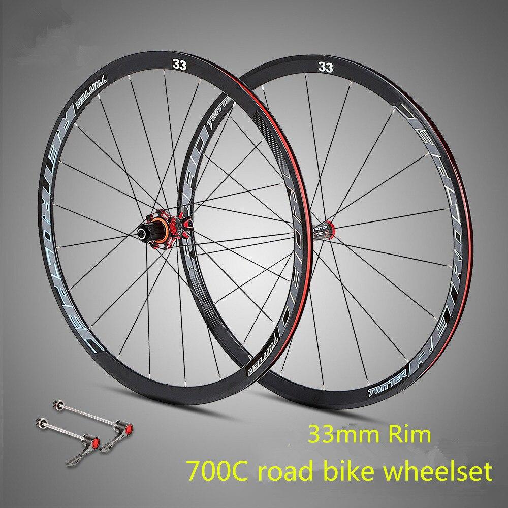 ultra light 700C road bike wheelset aluminum alloy sealed bearing carbon fiber hub 33mm rim colorful