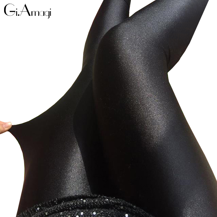 Plus Size shiny leggings Spring show thin section outside wear stretch pants female plus fertilizer XL