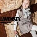 Lavensey Новый Мода Зима и Весна Новорожденных Девочек Dress 100% хлопок Дети Детская Одежда Британский Стиль Девушка Dress Элегантный Дети