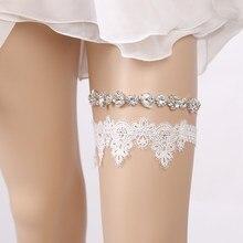 422a2b2782 Boda Rhinestone Flor del bordado rebordear blanco ligas atractivas para las  mujeres mujer novia muslo anillo nupcial pierna Gart.