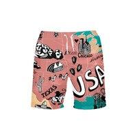 VEEVAN Men's Board Shorts World Map USA Letter 3D Printing Beach Shorts Surfing Trunks Quick dry Short Swim Trunks Casual Shorts