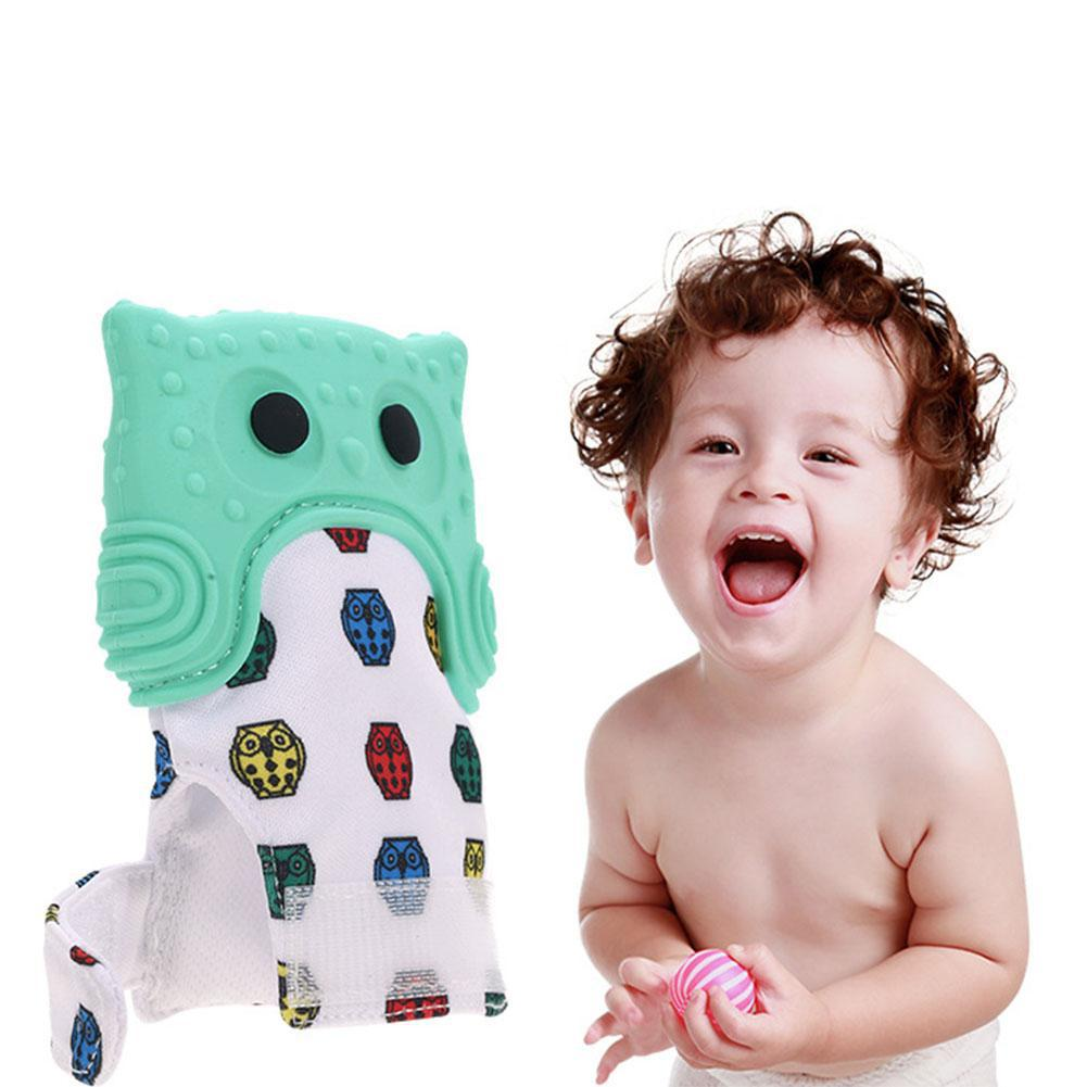 1 Pcs Cartoon Owl Baby Teething Mitten Self Soothing Teether Teething Pain Relief Toy with Sound zk30