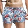 Seobean marca hombres pantalones cortos deportivos de playa junta shorts bañador de hombre para hombre ropa deportiva trajes de baño hombre pantalones cortos de secado rápido