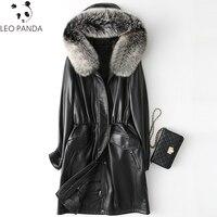 Натуральная кожа овчины куртка лиса меховой воротник белая утка вниз зимнее пальто Для женщин корейские узкие длинное пальто плюс Размеры