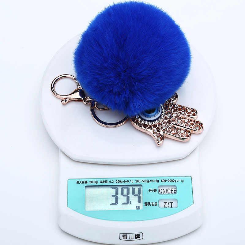 8 cm Fluffy Rabbit Fur Pompom Azul Olhos de Cristal Da Corrente Chave Titular chaveiro Chave Chaveiro Charme Metal Porte Clef Pingente presentes