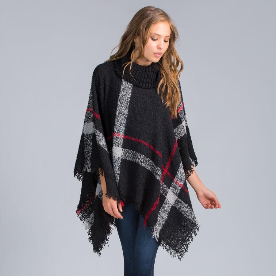fashion stole plaid poncho pashmina scarf high neck