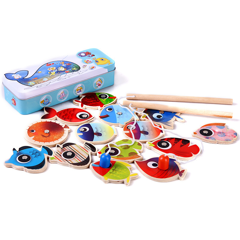 New 14 Fishes + 2 Fishing Rods Wooden Children Toys Fish Magnetic Pesca Play Fishing Game Tin Box Kids Educational Toy Boy girl magnetic wooden puzzle toys for children educational wooden toys cartoon animals puzzles table kids games juguetes educativos