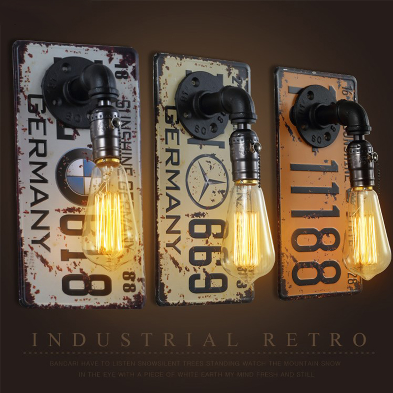 Simple wall lights Bar Clothing shop Industrial License plate wall lamps Aisle Corridor restaurant Pipe lighting fixtures