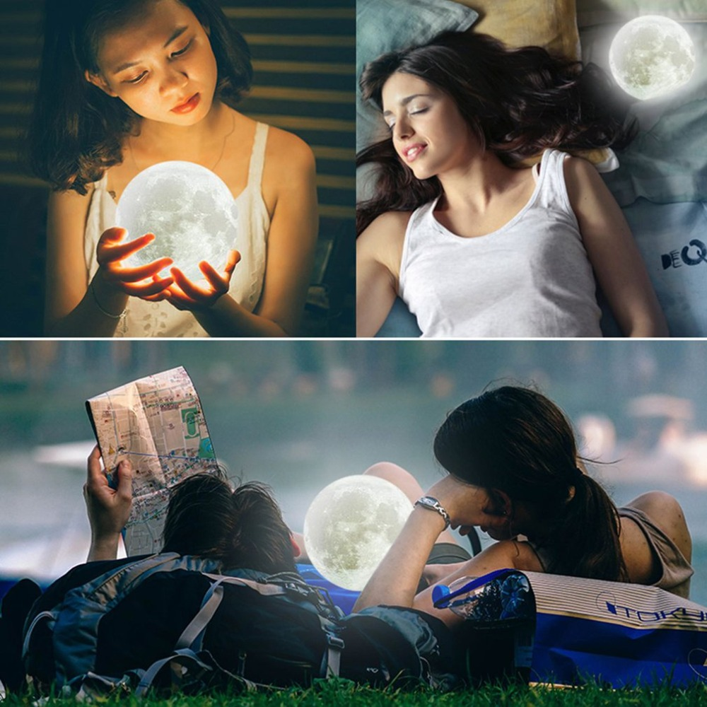 Rechargeable 3D Print Moon Lamp Usb Light Touch Switch Bedroom Bookcase Gadget Home Decoration Intelligent Charging USB Gadget 3