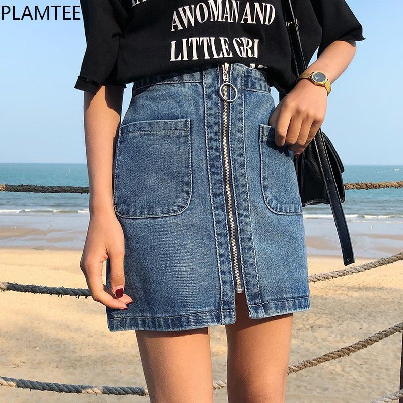 PLAMTEE Fashion Women Middle Zipper Ladies Jeans Skirts with Vertical Pocket High Waist Denim Skirts Summer Formal Mini Skirt