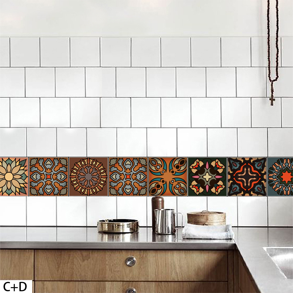 Moroccan Style DIY Mosaic Wall Tiles Stickers Waist Line Wall ...