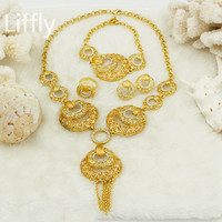 Fashion Long Bridal Jewelry Sets & More African Beads Jewelry Sets Eye Dubai Gold Jewelry Sets for Women Valentine's Day Gifts