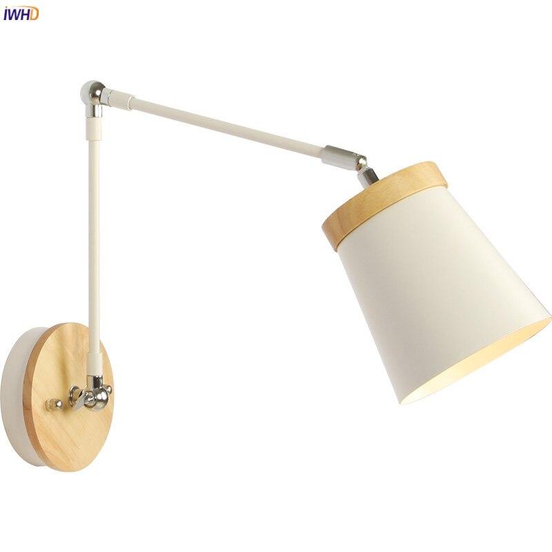 IWHD Wooden Nordic Modern LED Wall Light Fixtures Living Room Bathroom Swing Long Arm Wall Lamp Beside Wandlamp Aplique De Pared
