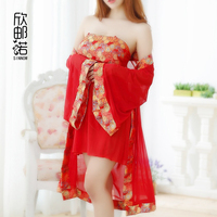 exotic apparel Sexy Gauze Pajamas Chinese Classical Style Bathrobe Suits Sexy Lingerie Charming Mesh Stomacher Robe Costume