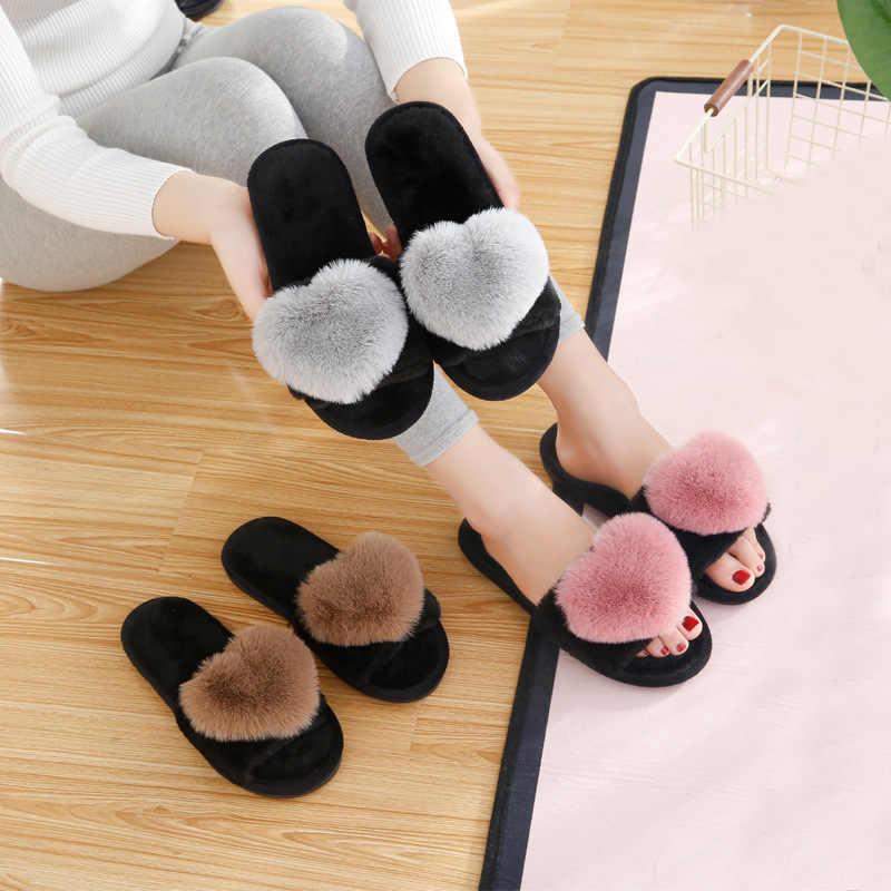 Zapatillas para el hogar de Mujer Zapatos suaves de piel de amor corazón de moda Zapatos de felpa abrigados de mujer deslizantes planos femeninos negro rosa más el tamaño 41