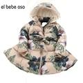 El oso bebe 2016 Осень Зима детская Мода & Casual куртки девушки с Длинным Рукавом С Капюшоном Печати Пальто для Детей Теплую Одежду XL521