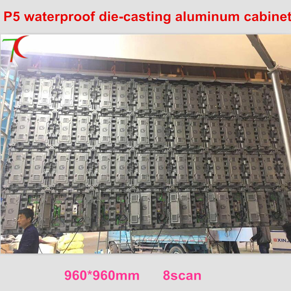 Watch 960*960mm P5 HD  SMD Outdoor Waterproof Full Color Die-casting Aluminium Cabinet Display ,8 Scan,40000dots/m2