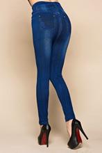 Fashion Slim Women Leggings Faux Denim Jeans Leggings Sexy Pocket Printing Summer Leggings Casual Pencil Pants Women Clothing
