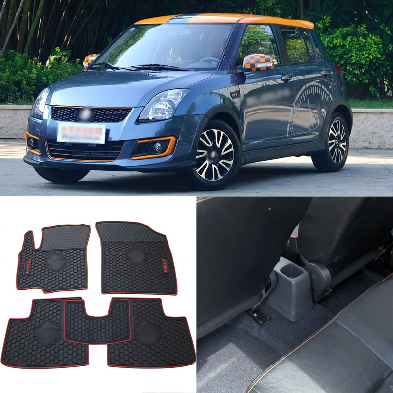 High Quality Full Set All Weather Heavy Duty Black Rubber Floor Mats For Suzuki Swift цены