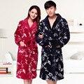 Alongar espessamento Amantes Robe de Flanela Pijamas Masculinos e femininos Roupas Ganhar Coral Roupão Outono E Inverno Para Baixo