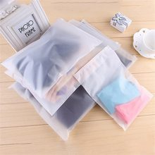 2pcs Matte Frosted Travel Pouch Storage Bag Sealed Waterproof Transparent Ziplock Bag For Clothing Bras Shoes Promotion(China)