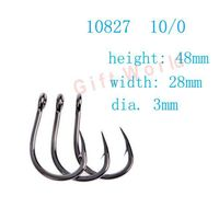60pcs 10827 Size 10 0 Stainless Steel Sea Fishing Hooks No Rust Fishing Tackle