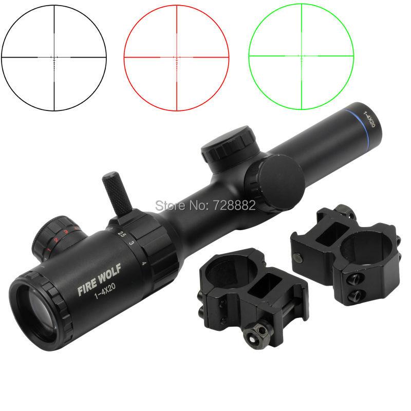 FireWolf 1-4X20 Illuminated Red Green Dot Rifle Scope Optical Riflescope 1 Tube Hunting Scope Green Dot Sight 1 x 33mm red green light dot bird sight scope for dslr black 1 x cr2032