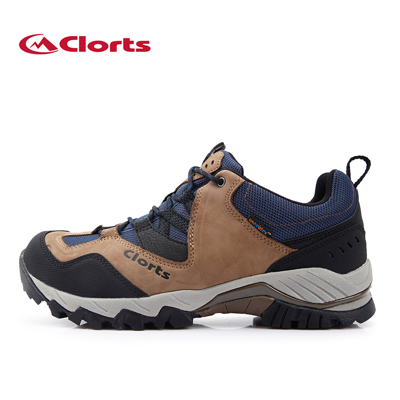 Clorts Hiking Shoes Men Real Leather Outdoor Shoes Breathable Trekking Outventure Shoes Waterproof Climbing Camping boots HS826A yin qi shi man winter outdoor shoes hiking camping trip high top hiking boots cow leather durable female plush warm outdoor boot