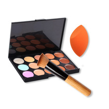 15 Colors Makeup Face Cream Concealer Palette + Powder Brush/ Puff Sponge Makeup Contour Palette Women Beaurty