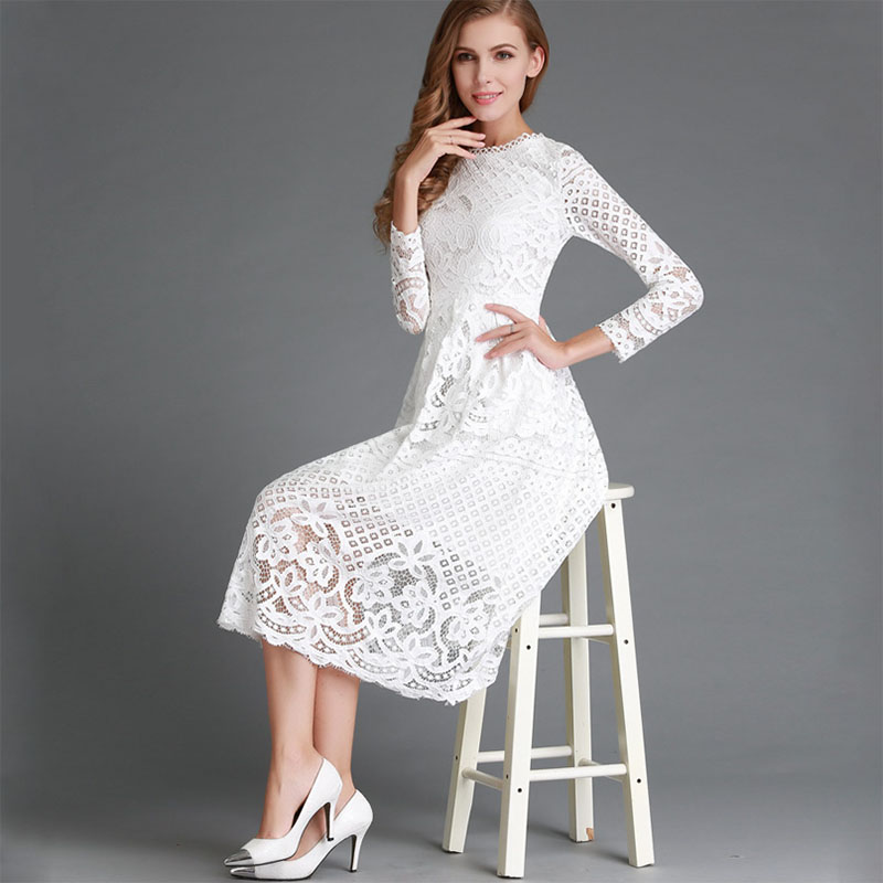 Women solid color round neck dress long sleeves conventional sleeve long sleeve sexy sexy lace lace large dress free shipping in Dresses from Women 39 s Clothing