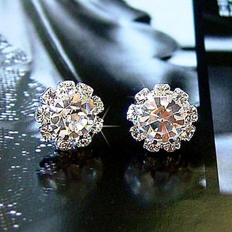 Sparkling rhinestone crystal earrings zircon stud earring hot-selling stud earring large #E024