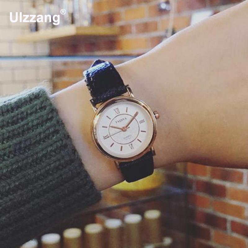 2.8cm Dial Fashion Casual Gold Genuine Leather Quartz Wrist Watch Wristwatches for Women Girls Young Black White Brown