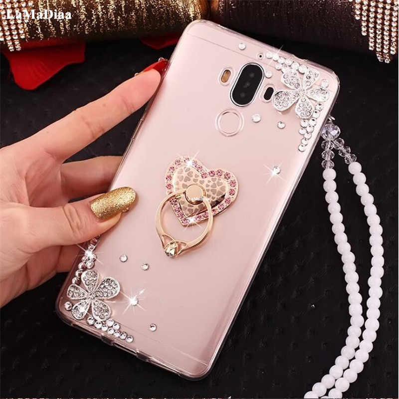 For Samsung Galaxy S6/S7 Edge S9 Note 9 8 5 Cute girls Bling Diamond phone case with finger ring lanyard hand Rope handmade DIY