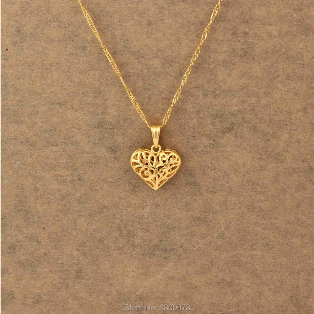 Heart necklaces pendants gold color exquisite gold jewelry for heart necklaces pendants gold color exquisite gold jewelry for women girls kidslovers gifts free shipping in pendants from jewelry accessories on aloadofball Image collections