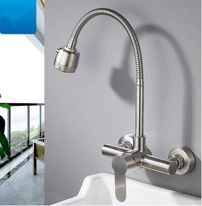 Wall Mounted Kitchen Faucet 304 stainless steel Vegetable basin faucet Hot and Cold Water Sink Faucets