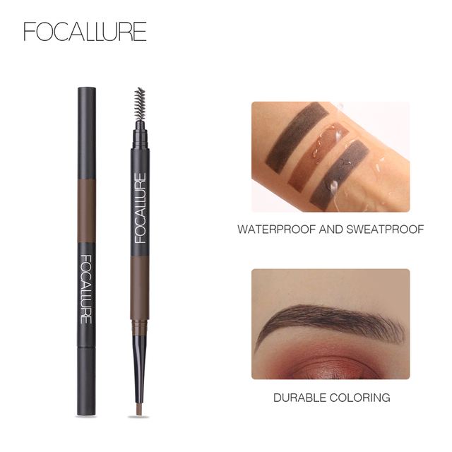 FOCALLURE Eyebrow Pencil 3 in 1 Auto Waterproof Eye Makeup Brow Shades Brush Powder Tint No Tone Long Lasting Eyebrow Pencil 2