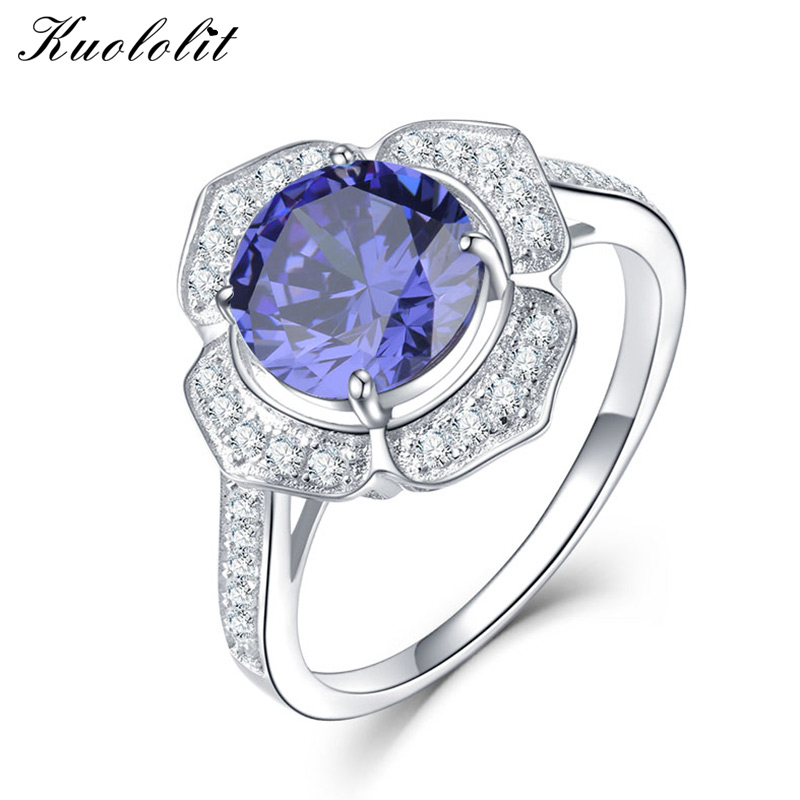 Kuololit Classic Tanzanite Ring Solid 925 Sterling Silver Rings For Women Brand Fine Jewelry Engagement Women GiftKuololit Classic Tanzanite Ring Solid 925 Sterling Silver Rings For Women Brand Fine Jewelry Engagement Women Gift