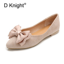 Купить с кэшбэком Soft Flock Flats Shoes Women Loafers Big Size 36-42 Butterfly-Knot Women Flats Ballet Shallow Casual Flat Shoes Woman Moccasins