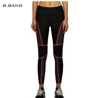 B.BANG Sexy Women Leggings Mesh Pants Striped Capris Slim Legging Elastic Lines Dry Quick Breathable Pants