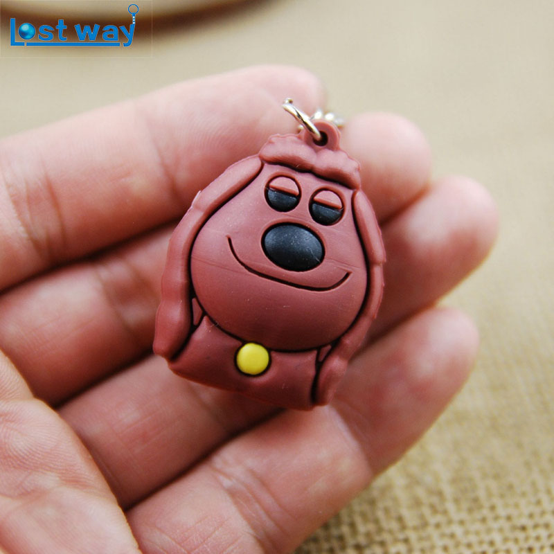 LOST WAY Mixed 20pcs/lot Mini 3D PVC Rubber Keychain Buddy Dog Duke Pig Keychains Toy Figures Dog Anime Metal Key Chains gifts